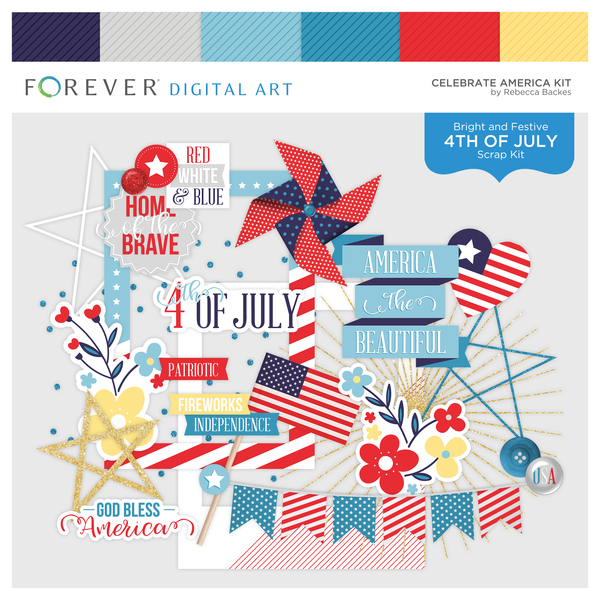 Celebrate America Kit Digital Art - Digital Scrapbooking Kits