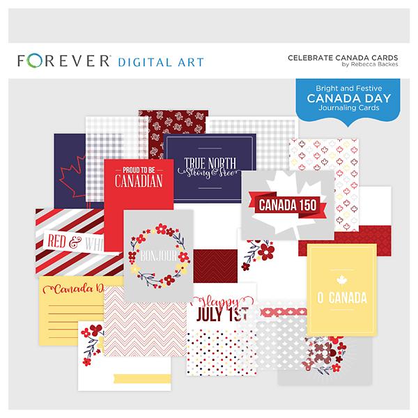 Celebrate Canada Cards Digital Art - Digital Scrapbooking Kits
