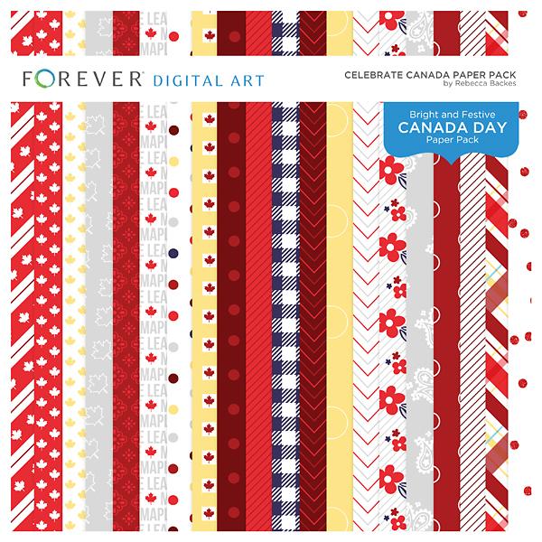 Celebrate Canada Paper Pack Digital Art - Digital Scrapbooking Kits