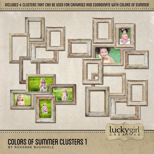 Colors Of Summer Clusters 1 Digital Art - Digital Scrapbooking Kits