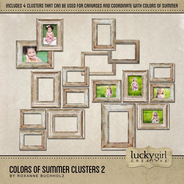 Colors Of Summer Clusters 2 Digital Art - Digital Scrapbooking Kits