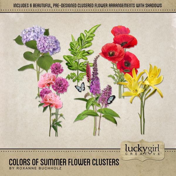 Colors Of Summer Flower Clusters Digital Art - Digital Scrapbooking Kits