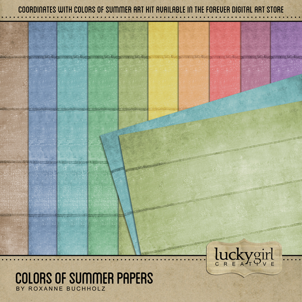 Colors Of Summer Papers Digital Art - Digital Scrapbooking Kits