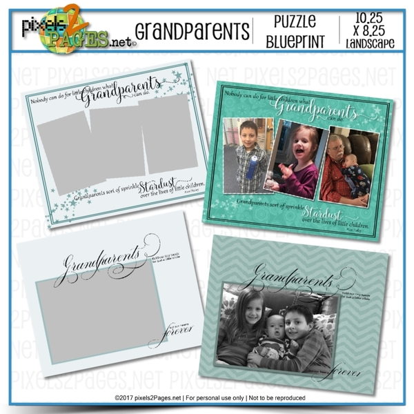 Grandparents Puzzle Blueprint Digital Art - Digital Scrapbooking Kits