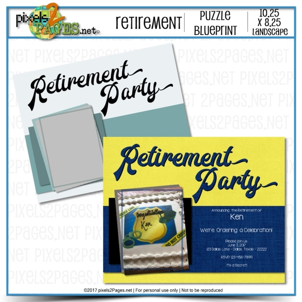 Retirement Party Puzzle Blueprint Digital Art - Digital Scrapbooking Kits