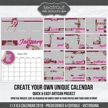 11 X 8.5 Calendar 2018 - Predesigned And Editable - Victoriana Design Digital Art - Digital Scrapbooking Kits