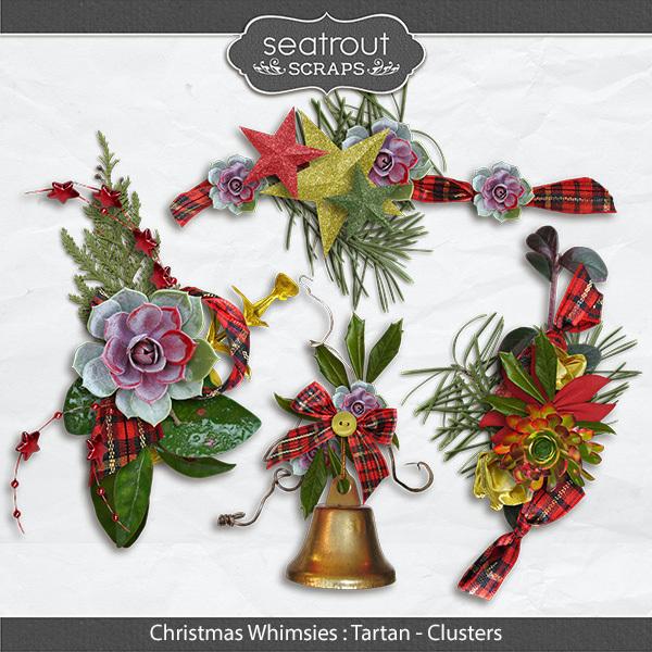 Christmas Whimsies - Tartan Clusters Digital Art - Digital Scrapbooking Kits