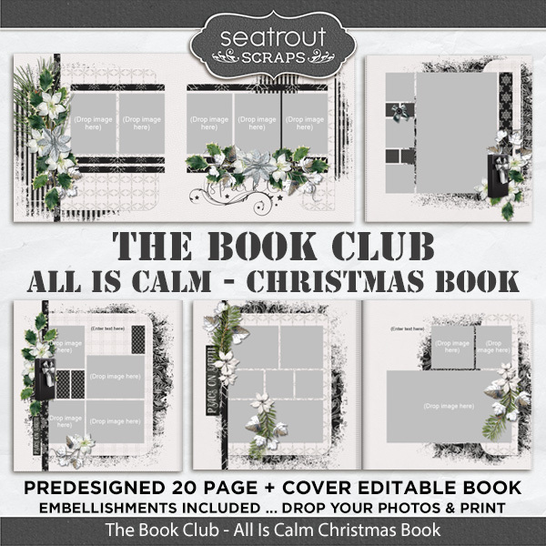 The Book Club - All Is Calm Predesigned Editable Book Digital Art - Digital Scrapbooking Kits