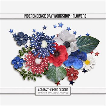 Independence Day Workshop - Flowers Digital Art - Digital Scrapbooking Kits