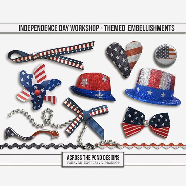Independence Day Workshop - Themed Embellishments Digital Art - Digital Scrapbooking Kits