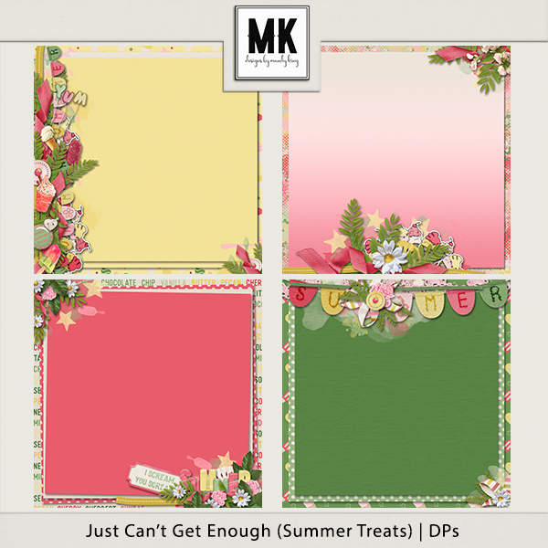 Just Can't Get Enough Summer Treats - Decorated Papers Digital Art - Digital Scrapbooking Kits