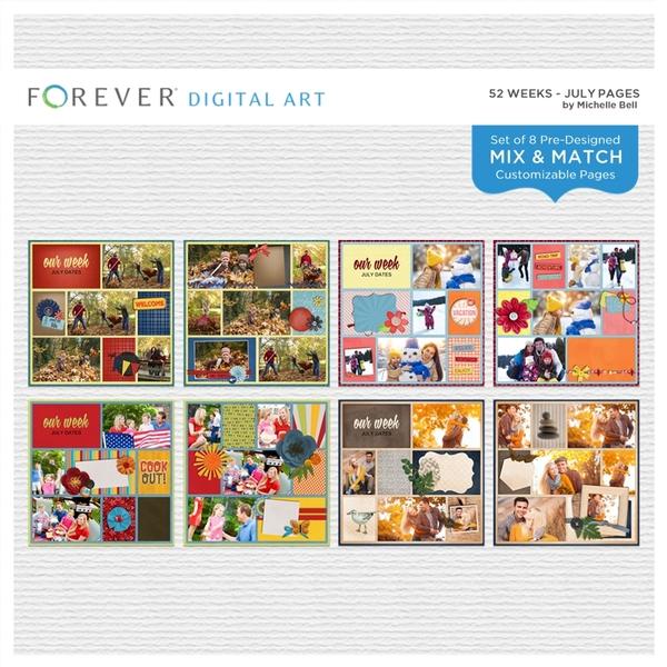 52 Weeks - July Pages Digital Art - Digital Scrapbooking Kits