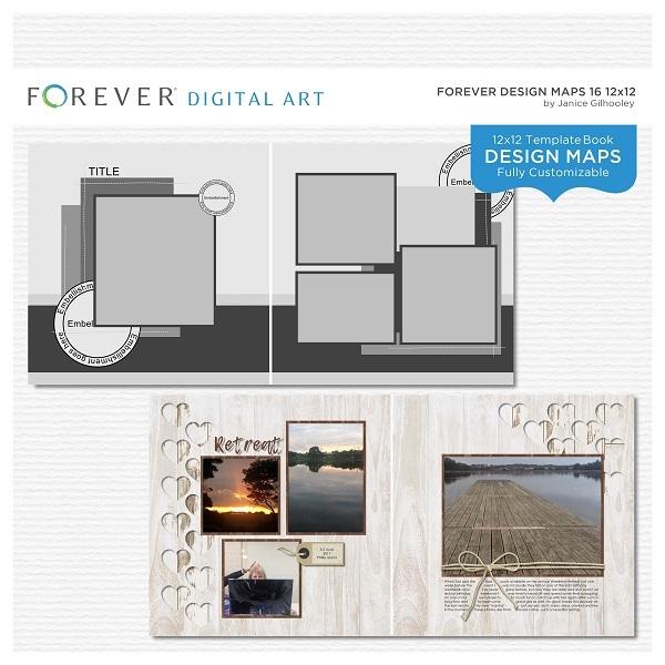 Forever Design Maps 16 12x12 Digital Art - Digital Scrapbooking Kits
