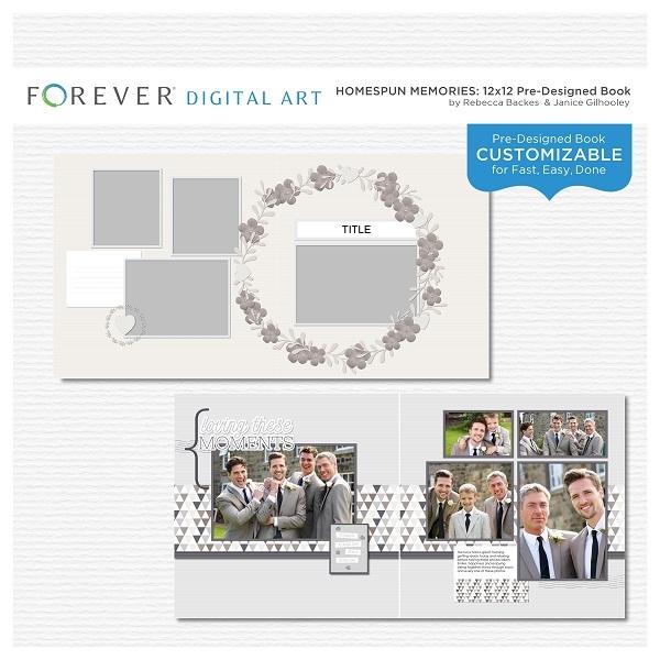 Homespun Memories Pre-designed Book Digital Art - Digital Scrapbooking Kits