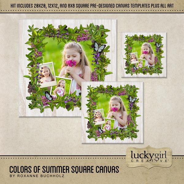 Colors Of Summer Square Canvas Digital Art - Digital Scrapbooking Kits