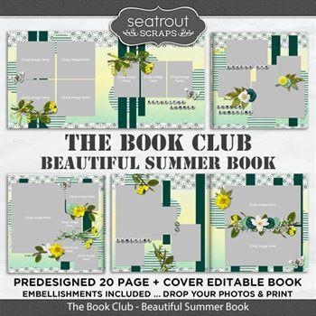 The Book Club - Beautiful Summer Predesigned Editable Book Digital Art - Digital Scrapbooking Kits
