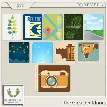 The Great Outdoors Journal Cards Digital Art - Digital Scrapbooking Kits
