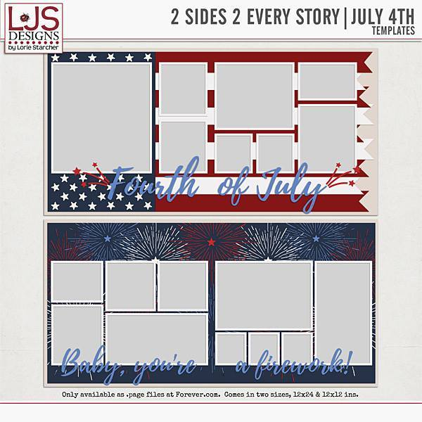 2 Sides 2 Every Story - July 4th Digital Art - Digital Scrapbooking Kits
