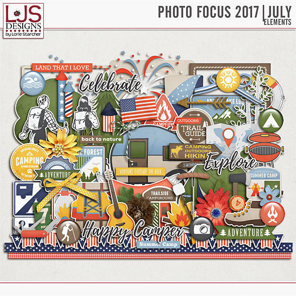 Photo Focus 2017 - July Elements Digital Art - Digital Scrapbooking Kits