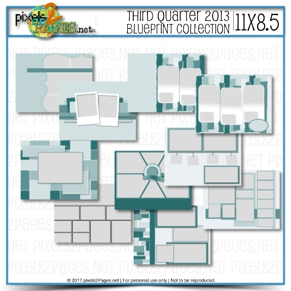 11x8.5 Third Quarter 2013 Blueprint Collection Digital Art - Digital Scrapbooking Kits