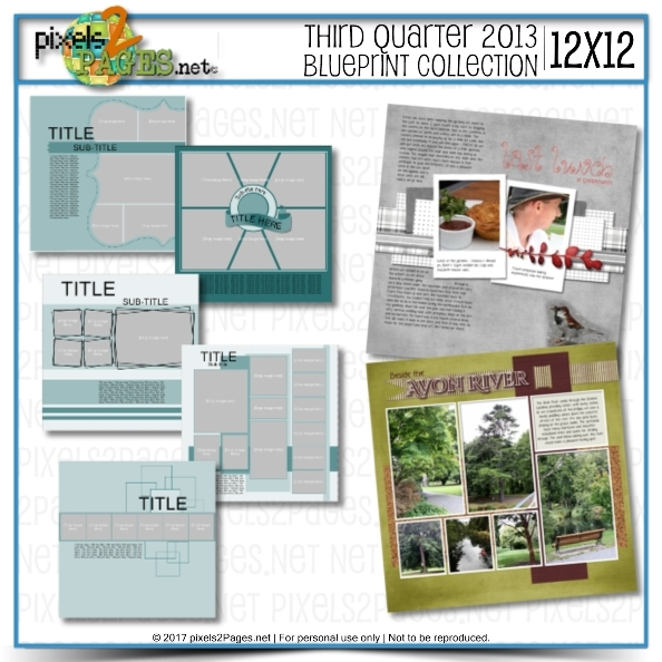 12x12 Third Quarter 2013 Blueprint Collection Digital Art - Digital Scrapbooking Kits