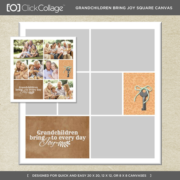 Grandchildren Bring Joy Square Canvas Digital Art - Digital Scrapbooking Kits