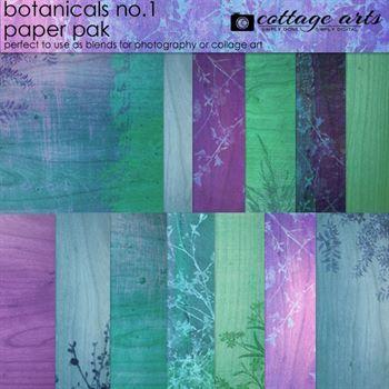Botanicals 1 Paper Pak Digital Art - Digital Scrapbooking Kits