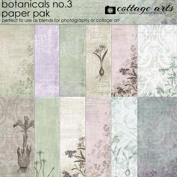 Botanicals 3 Paper Pak Digital Art - Digital Scrapbooking Kits