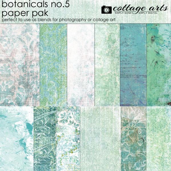 Botanicals 5 Paper Pak Digital Art - Digital Scrapbooking Kits