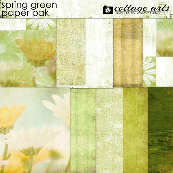 Spring Green Paper Pak Digital Art - Digital Scrapbooking Kits