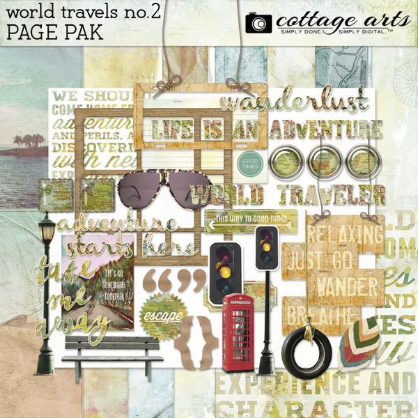 World Travels 2 Page Pak Digital Art - Digital Scrapbooking Kits