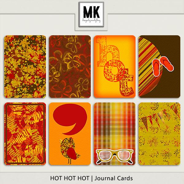 Hot Hot Hot - Journal Cards Digital Art - Digital Scrapbooking Kits