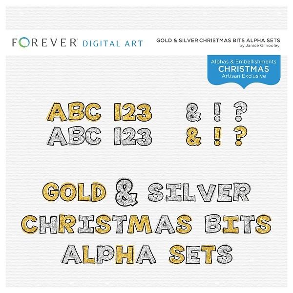 Gold & Silver Christmas Bits Alpha Sets Digital Art - Digital Scrapbooking Kits