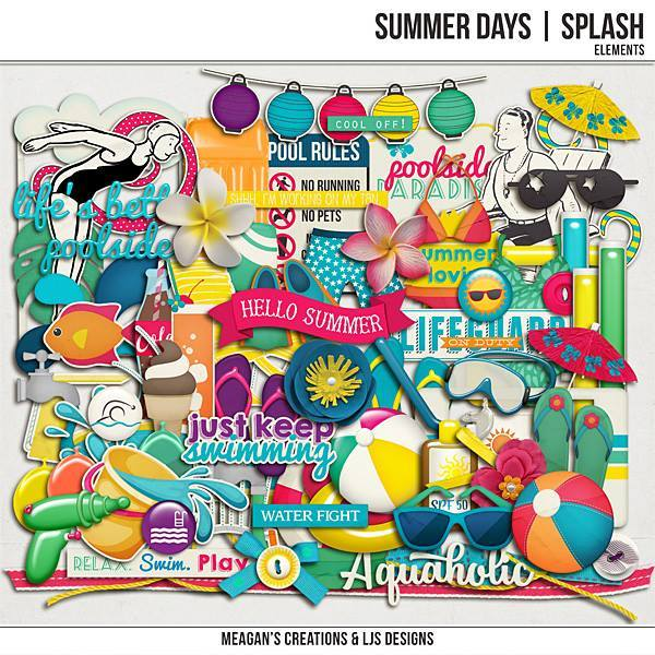 Summer Days - Splash Elements Digital Art - Digital Scrapbooking Kits