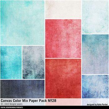Canvas Color Mix Paper Pack No. 28 Digital Art - Digital Scrapbooking Kits