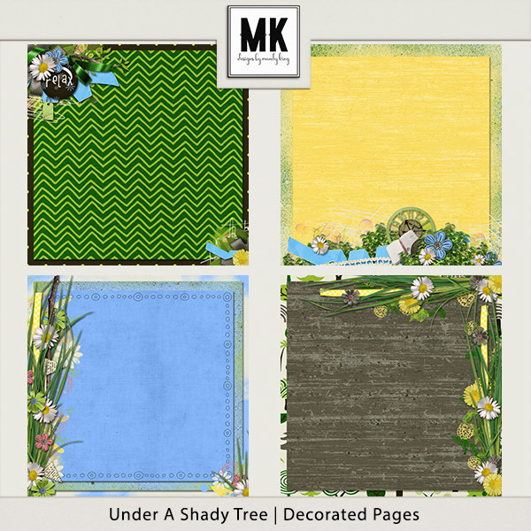 Under A Shady Tree - Decorated Papers Digital Art - Digital Scrapbooking Kits
