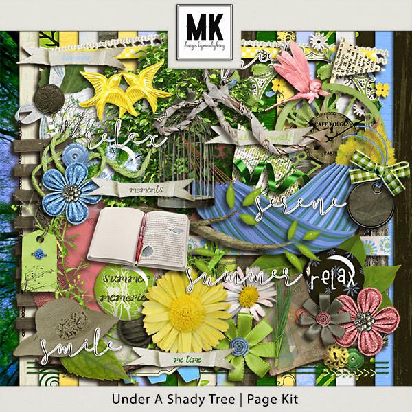 Under A Shady Tree - Page Kit Digital Art - Digital Scrapbooking Kits
