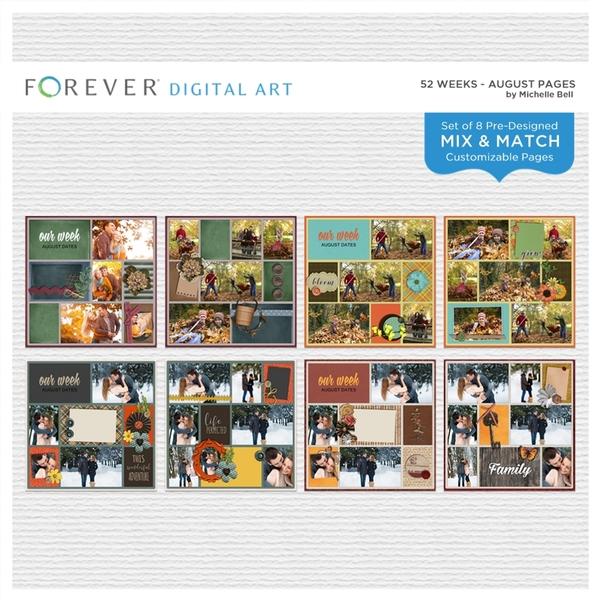 52 Weeks - August Pages Digital Art - Digital Scrapbooking Kits