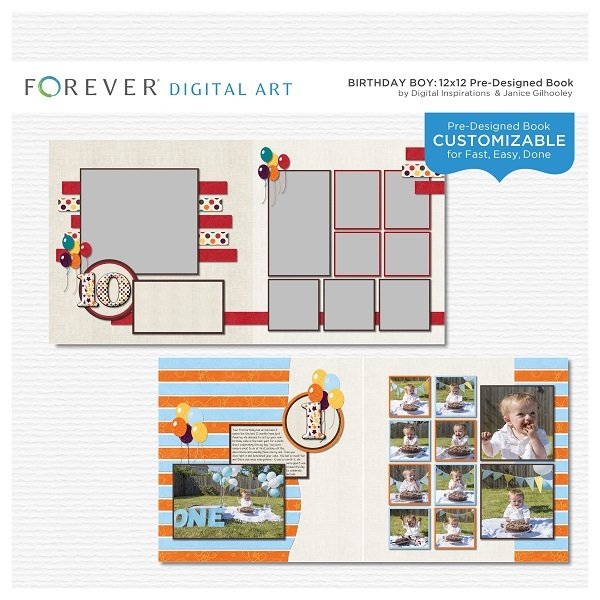 Birthday Boy Pre-designed Book Digital Art - Digital Scrapbooking Kits