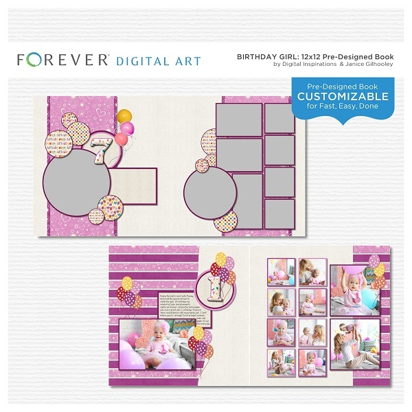 Birthday Girl Pre-designed Book Digital Art - Digital Scrapbooking Kits