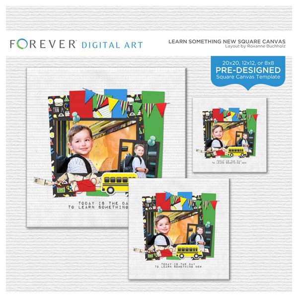 Learn Something New Square Canvas Digital Art - Digital Scrapbooking Kits