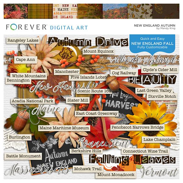 New England Autumn Digital Art - Digital Scrapbooking Kits