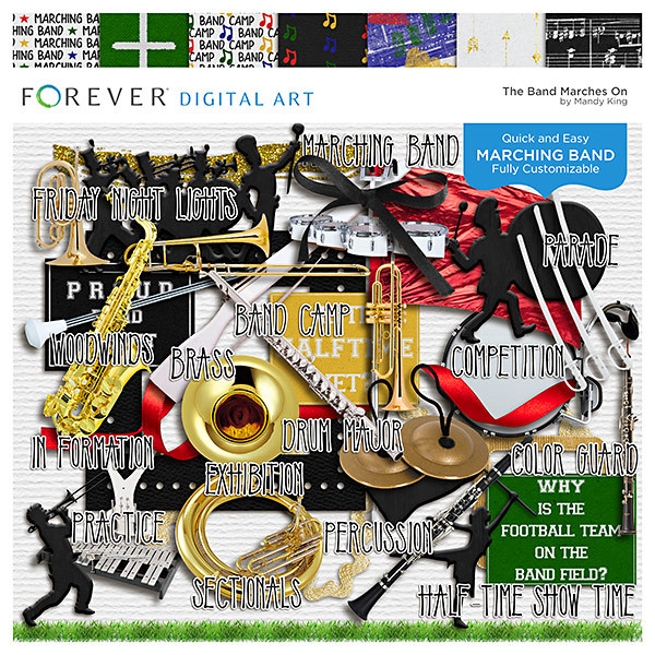 The Band Marches On Digital Art - Digital Scrapbooking Kits