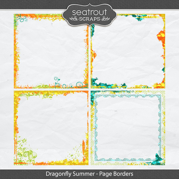 Dragonfly Summer Page Borders Digital Art - Digital Scrapbooking Kits
