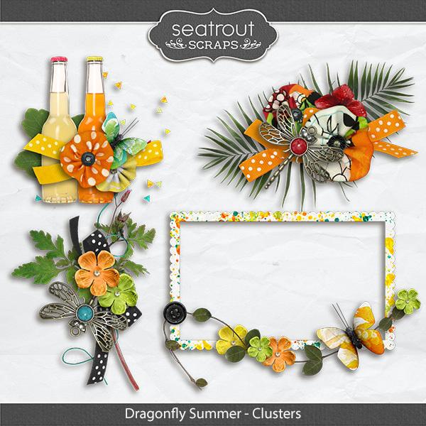 Dragonfly Summer Clusters Digital Art - Digital Scrapbooking Kits