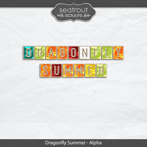 Dragonfly Summer Alpha Digital Art - Digital Scrapbooking Kits