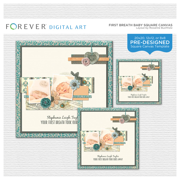First Breath Baby Square Canvas Digital Art - Digital Scrapbooking Kits