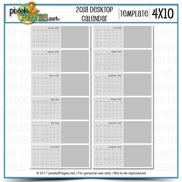 2018 4x10 Blank Calendar Desktop Template