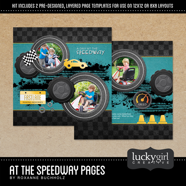 At The Speedway Pages Digital Art - Digital Scrapbooking Kits
