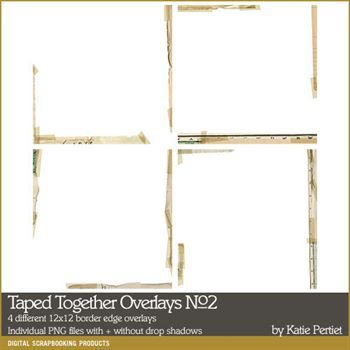 Taped Together Overlays No. 02 Digital Art - Digital Scrapbooking Kits